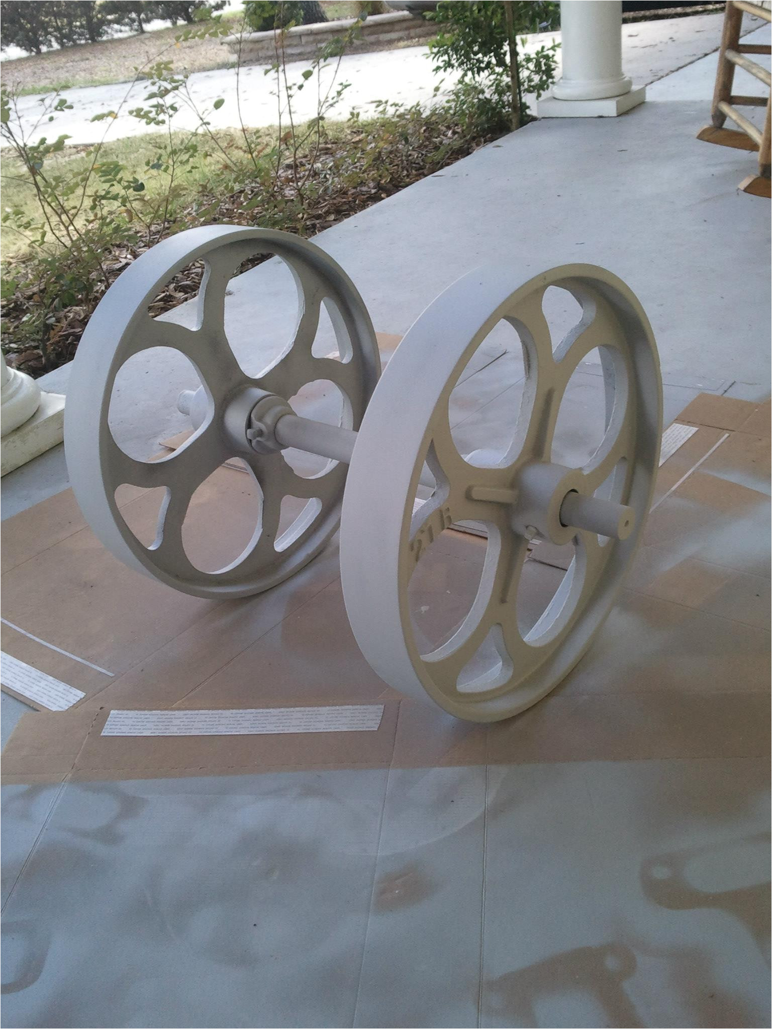 the big wheel fully primed after drying it will be ready for final painting