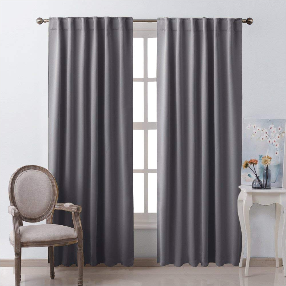 amazon com nicetown blackout curtain panels window draperies grey color 52x84 inch 2 pieces insulating room darkening blackout drapes for bedroom