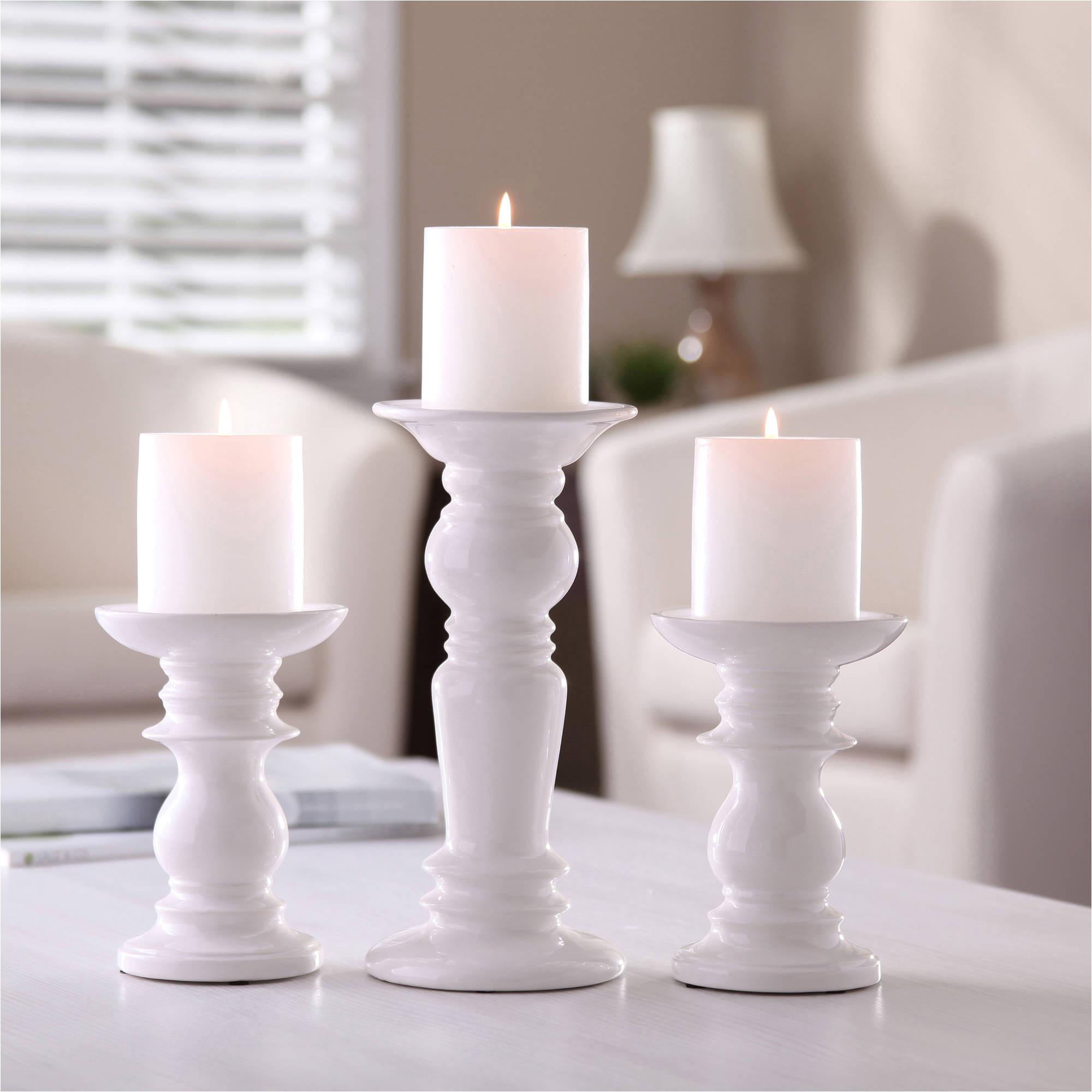 better homes gardens ceramic pillar candle holders set of 3 walmart com
