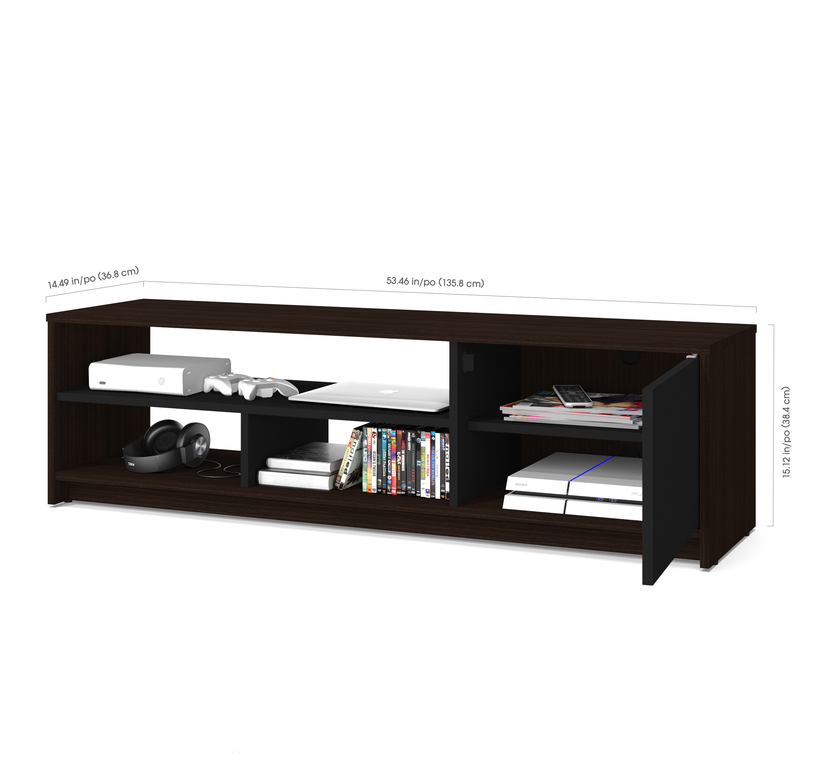 bestar small space 53 5 inch tv stand in dark chocolate and black walmart com