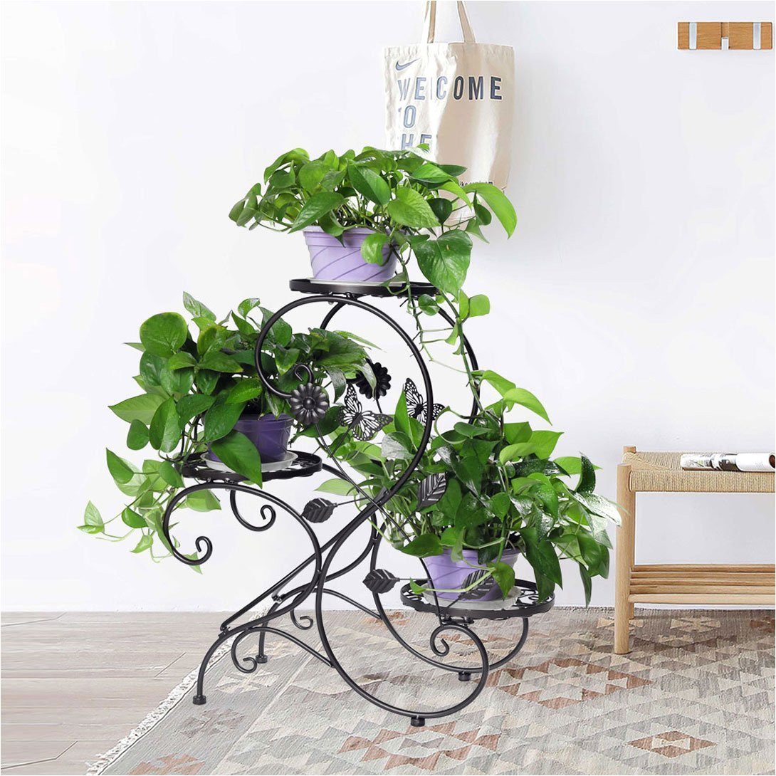 hlc 3 tier metal plant stand garden patio flower pot rack modern s design black walmart com