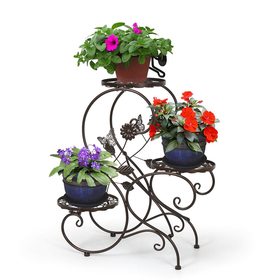 Outdoor Plant Stands Walmart Hlc 3 Tier Metal Plant Stand Garden