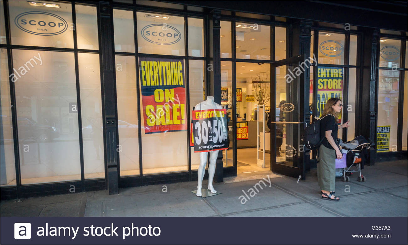 liquidation anzeichen sind vorhanden in den scoop nyc store im meatpacking district in new york