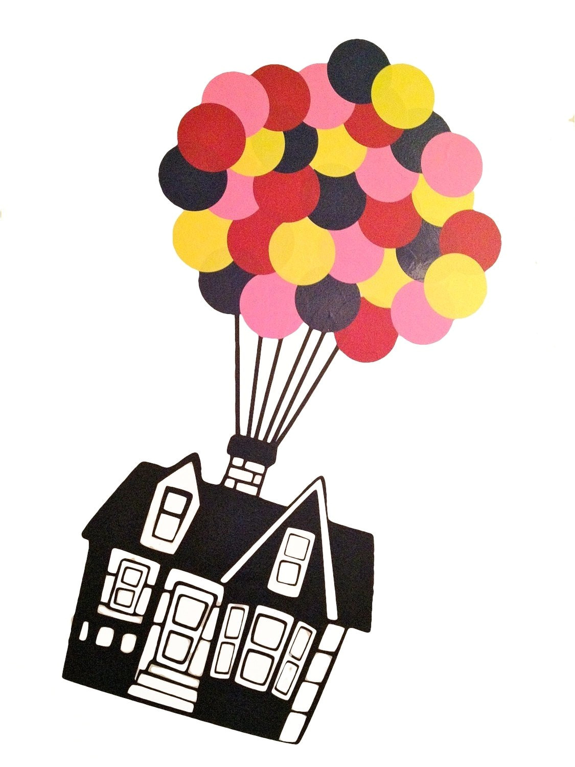 Party Supplies Store Roanoke Va Floating House with 32 Hot Air Balloons Vinyl Wall Decal Up Etsy