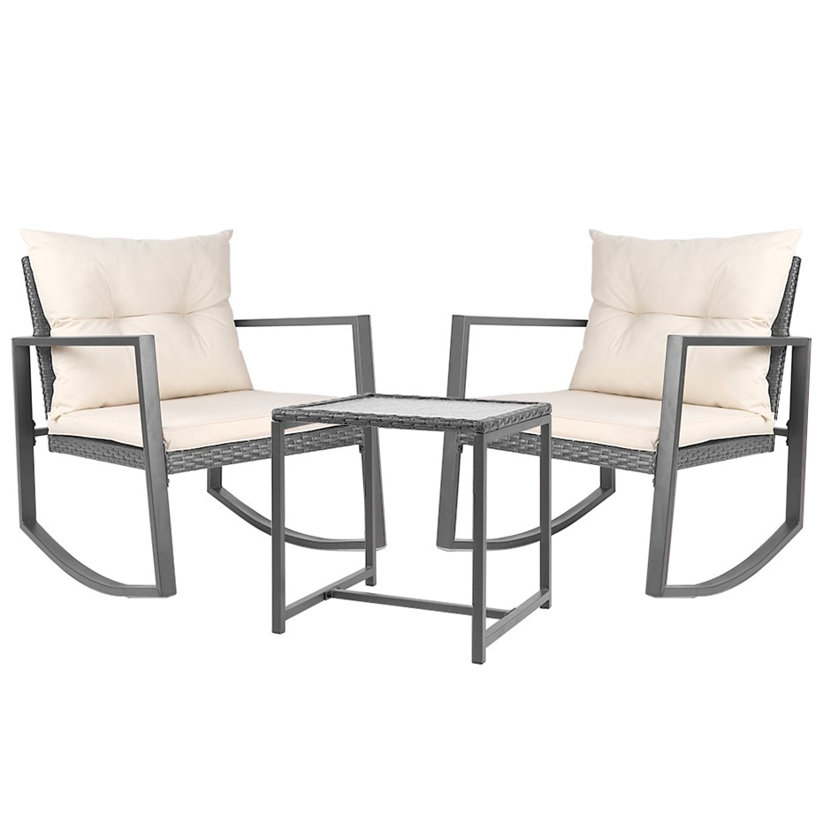 gardeon outdoor rocking chair and table set grey