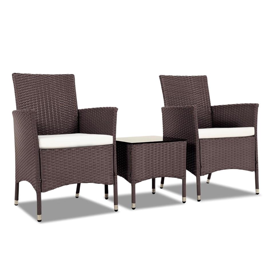 gardeon 3 piece rattan outdoor furniture set brown