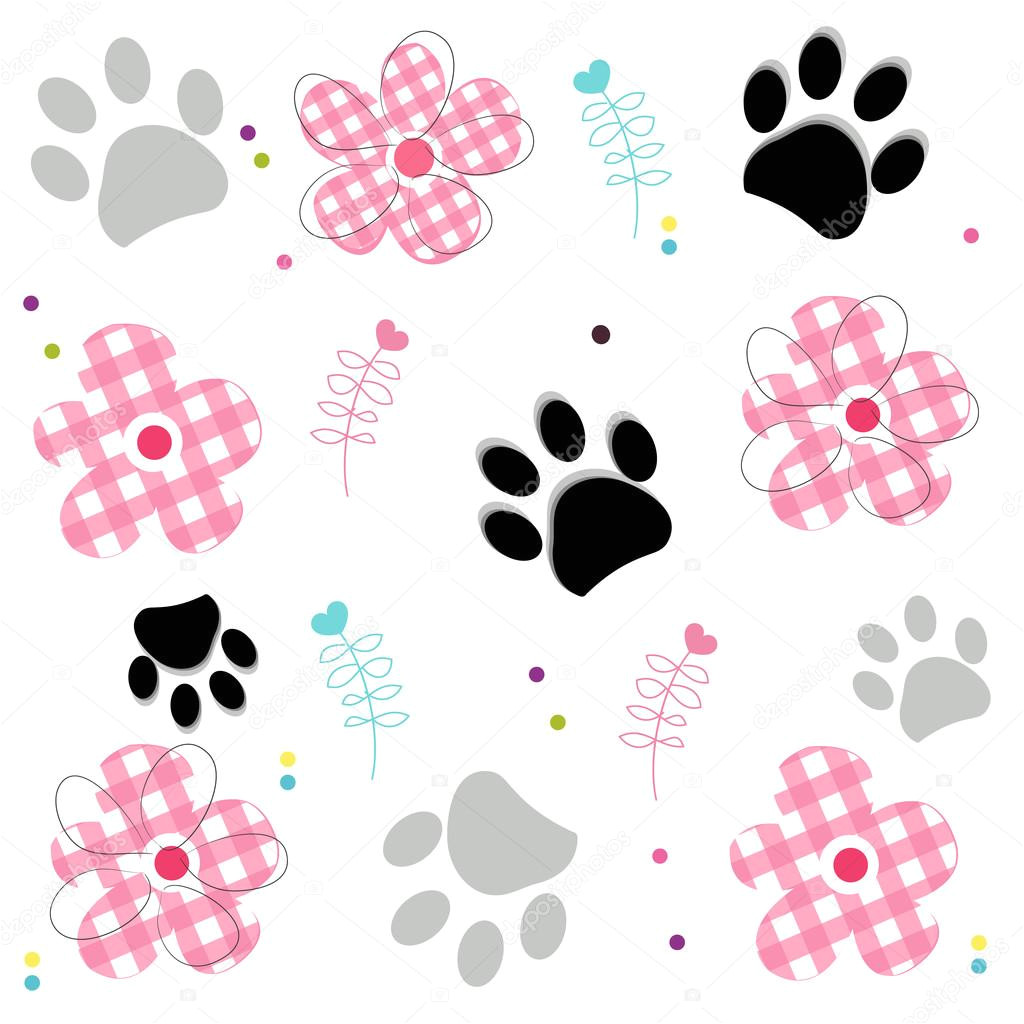paw prints with plaid pattern abstract flower vector illustraton background stock vector 122043538