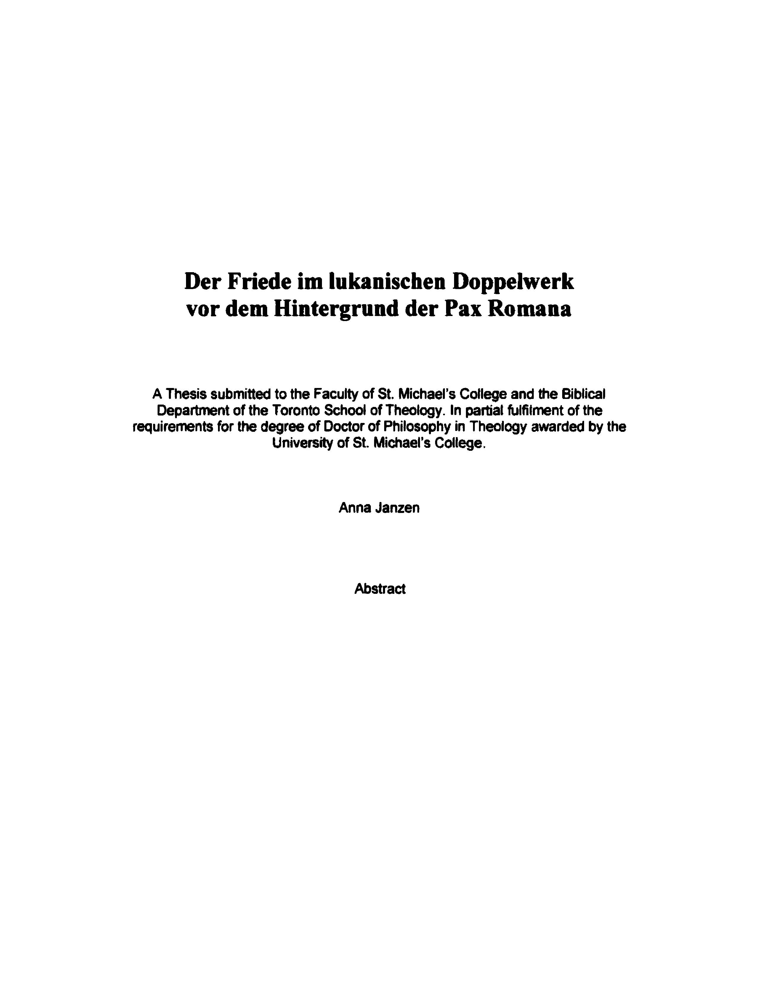 der friede im lukanischen doppelwerk vor dem hintergrund der pax romana a thesis submitted to the