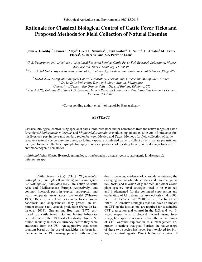 Pest Control Laredo Tx Pdf Rationale for Classical Biological Control Of Cattle Fever