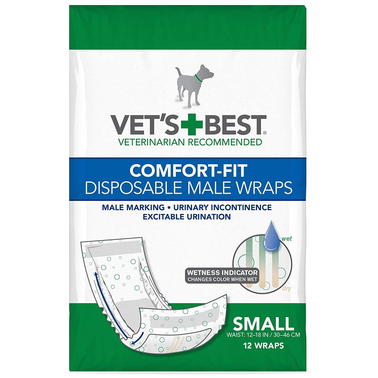 amazon com vet s best disposable male dog diapers with wetness indicator 12 count pet supplies