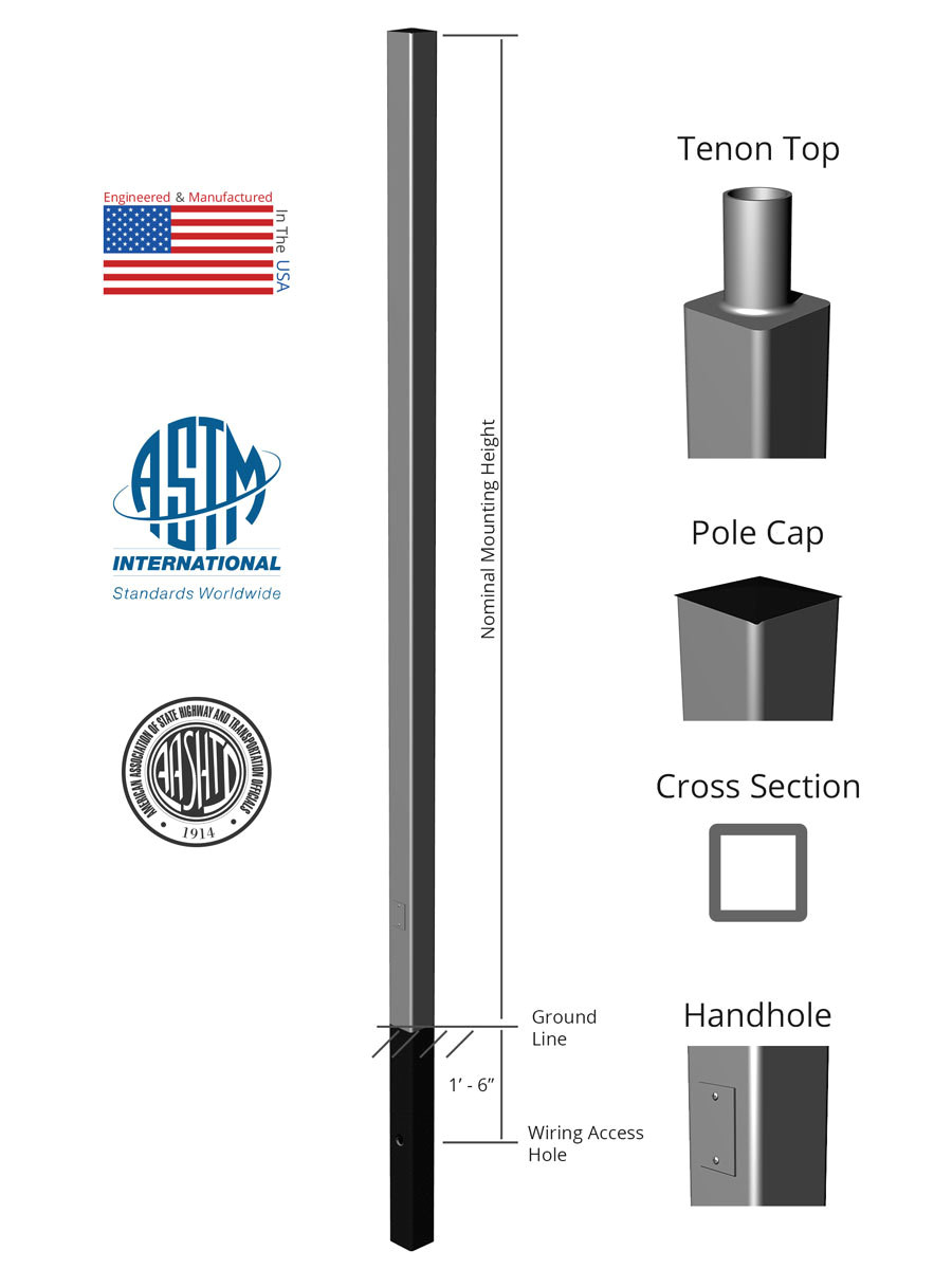 square straight aluminum direct burial light pole