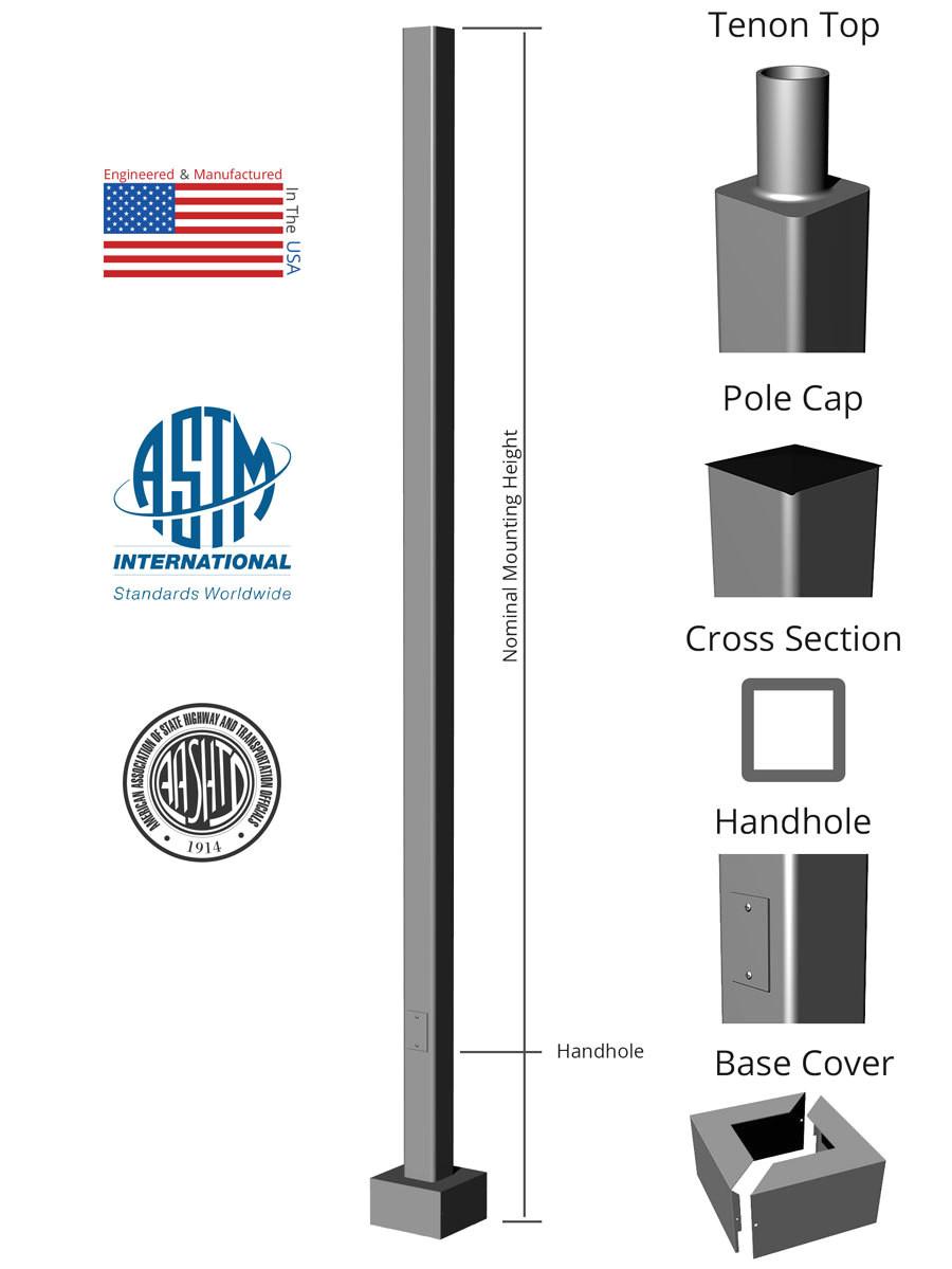 square straight aluminum anchor base light pole