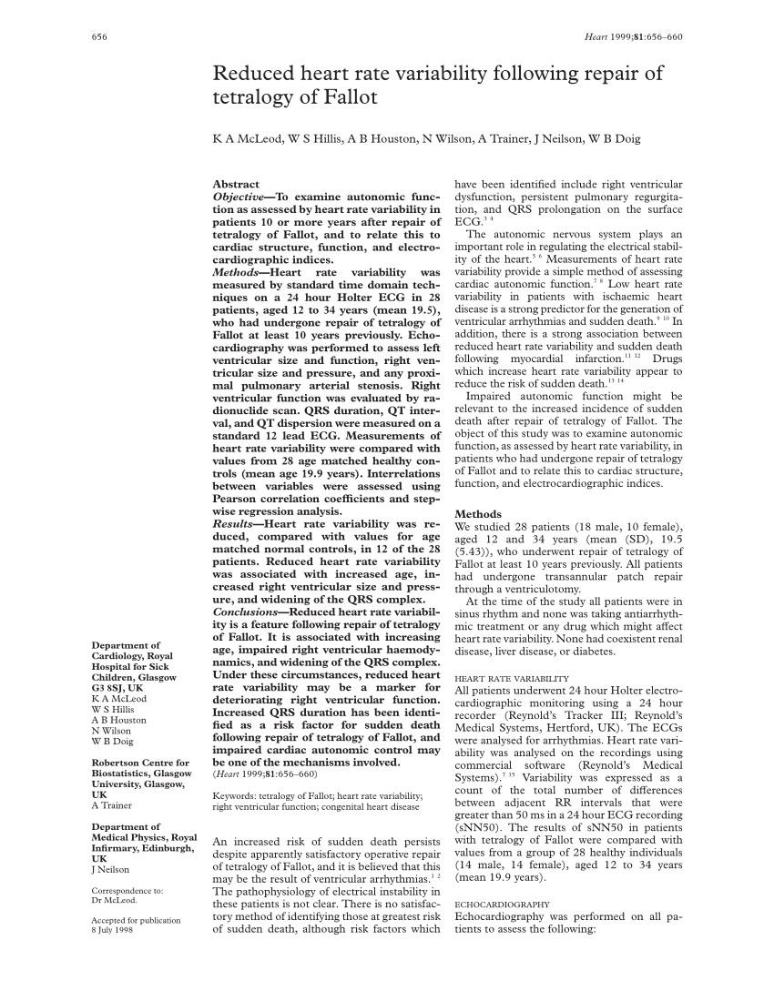 pdf reduced heart rate variability following repair of tetralogy of fallot