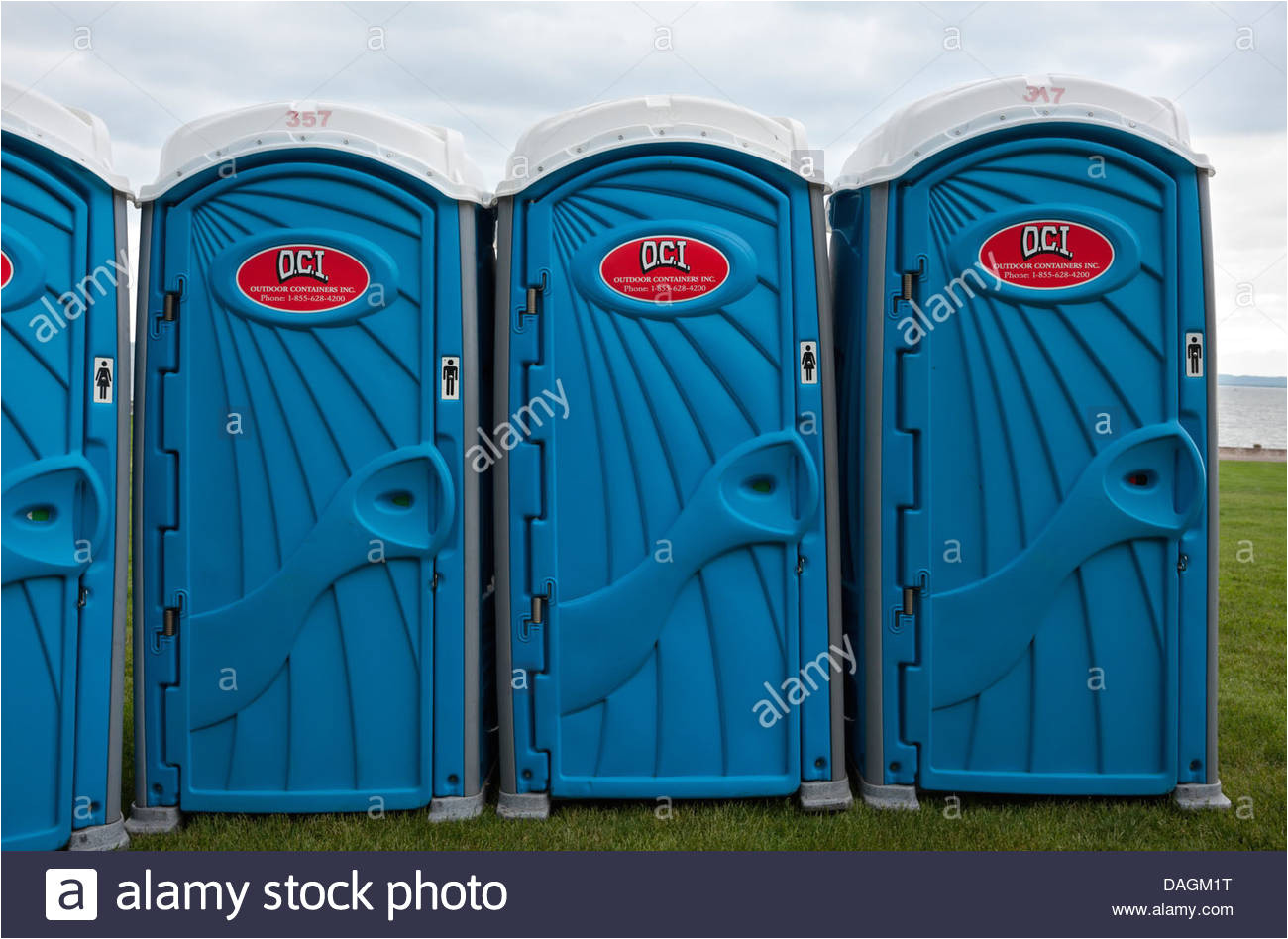 porta potties in a park in preparation for a summer festival burlington ontario
