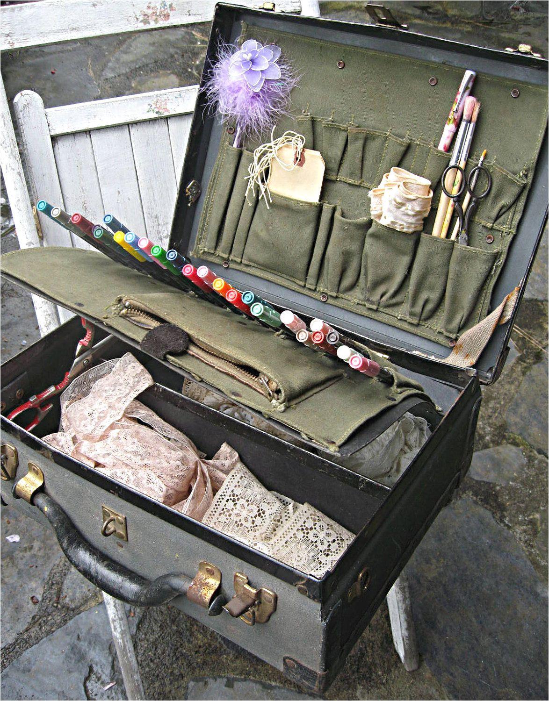 vintage suitcase artists supplies suitcase portable art studio