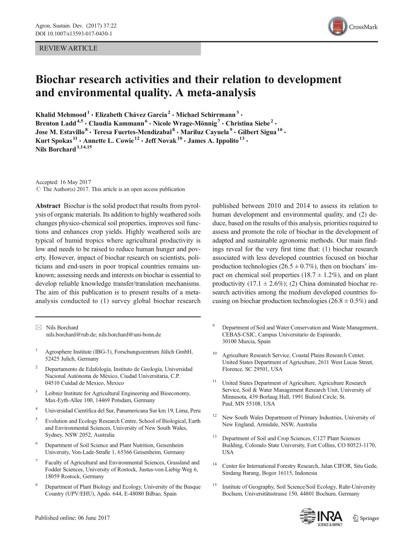 pdf biochar research activities and their relation to development and environmental quality a meta analysis