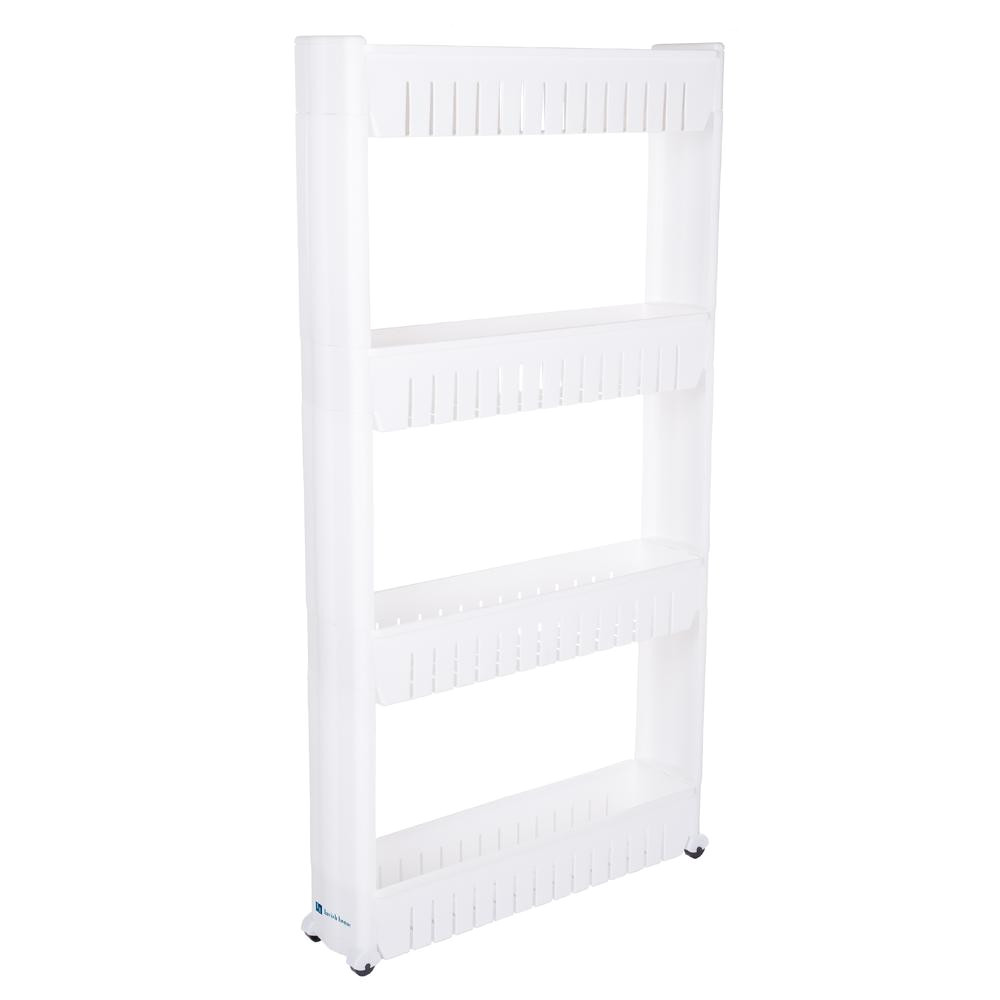 lavish home 4 tier 4 wheeled pvc slim slide out pantry in white