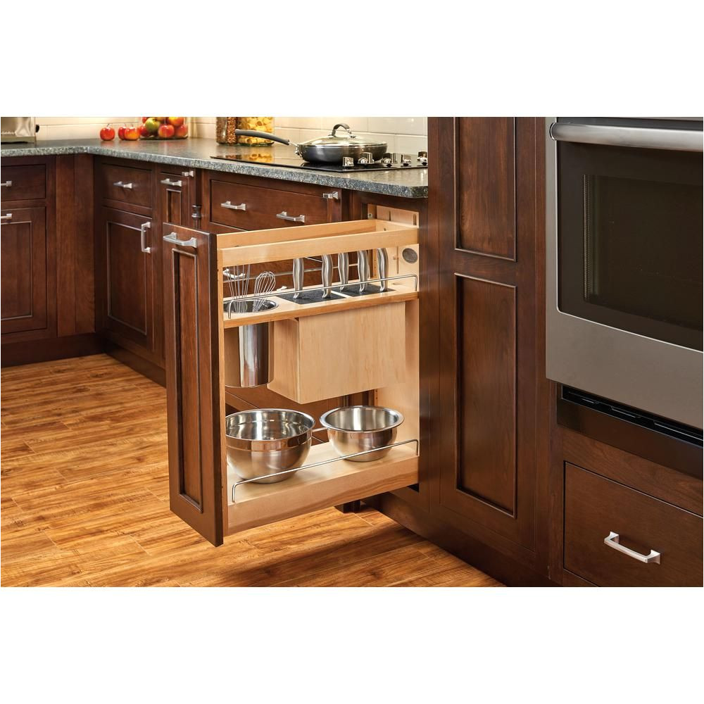 rev a shelf 25 5 in h x 8 in w x 21 56 in d pull out wood base cabinet organizer with knife block and soft close slides 448kb bcsc 8c the home depot