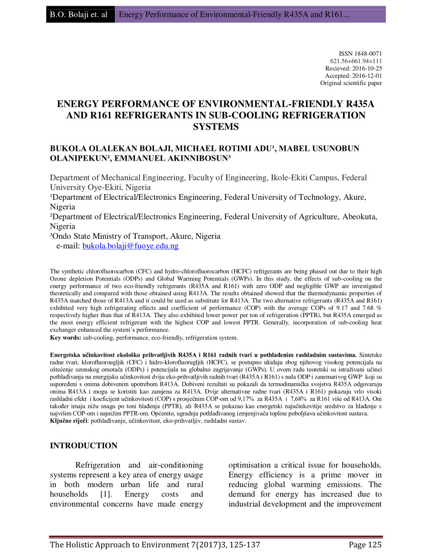 pdf energy performance of environmental friendly r435a and r161 refrigerants in sub cooling refrigeration systems