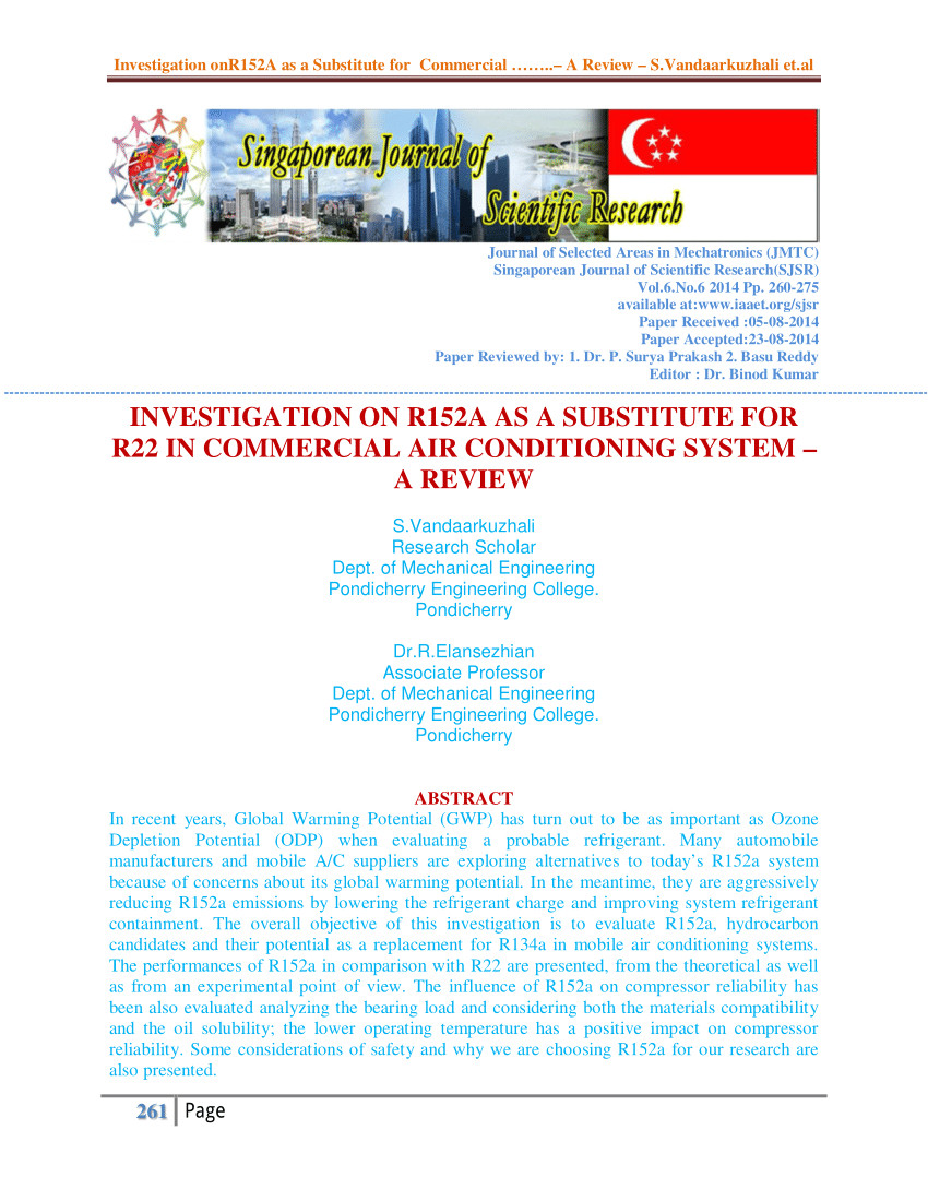 pdf investigation on r152a as a substitute for r22 in commercial air conditioning system a review