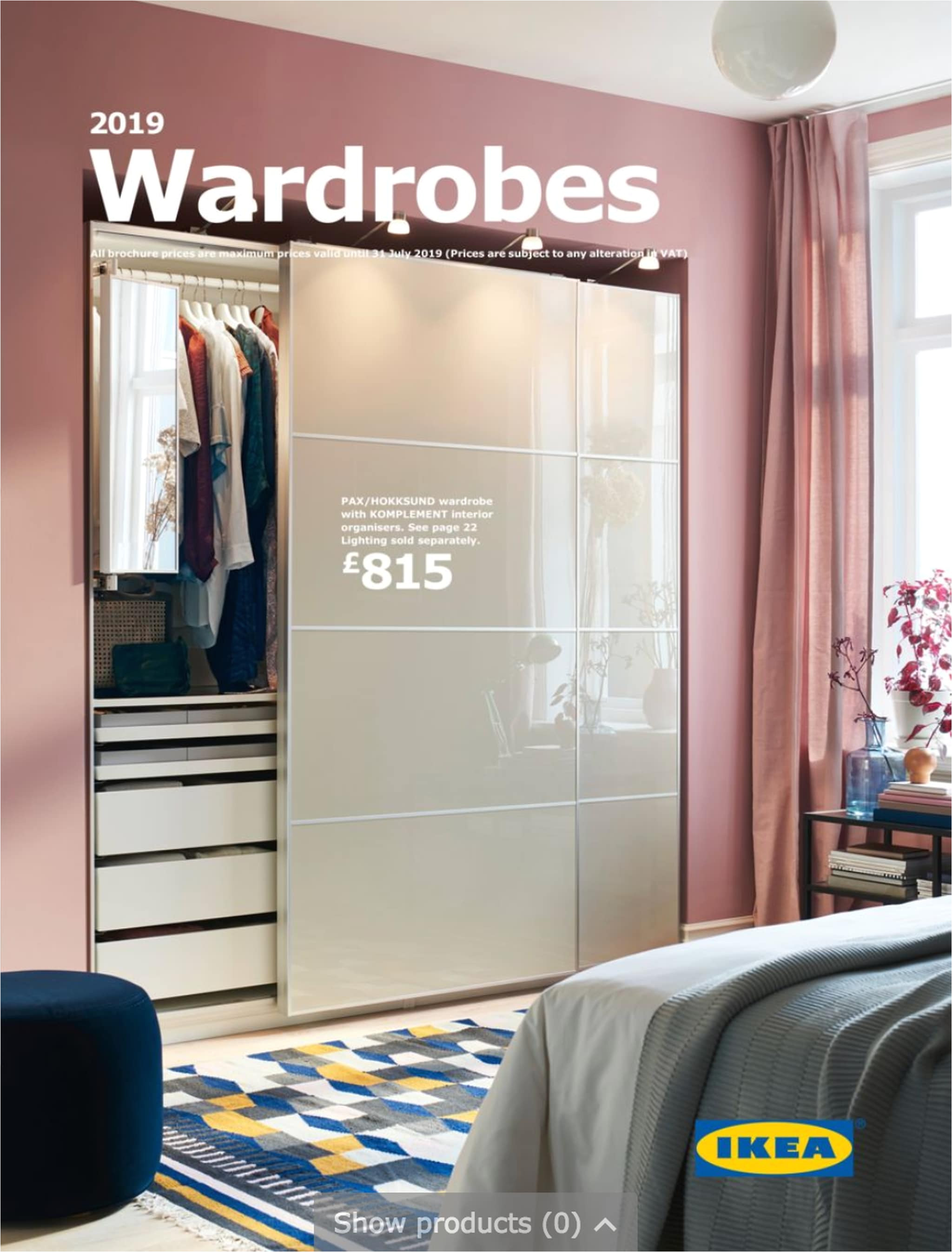 a sliding doors beige wardrobes on a pink bedroom wall