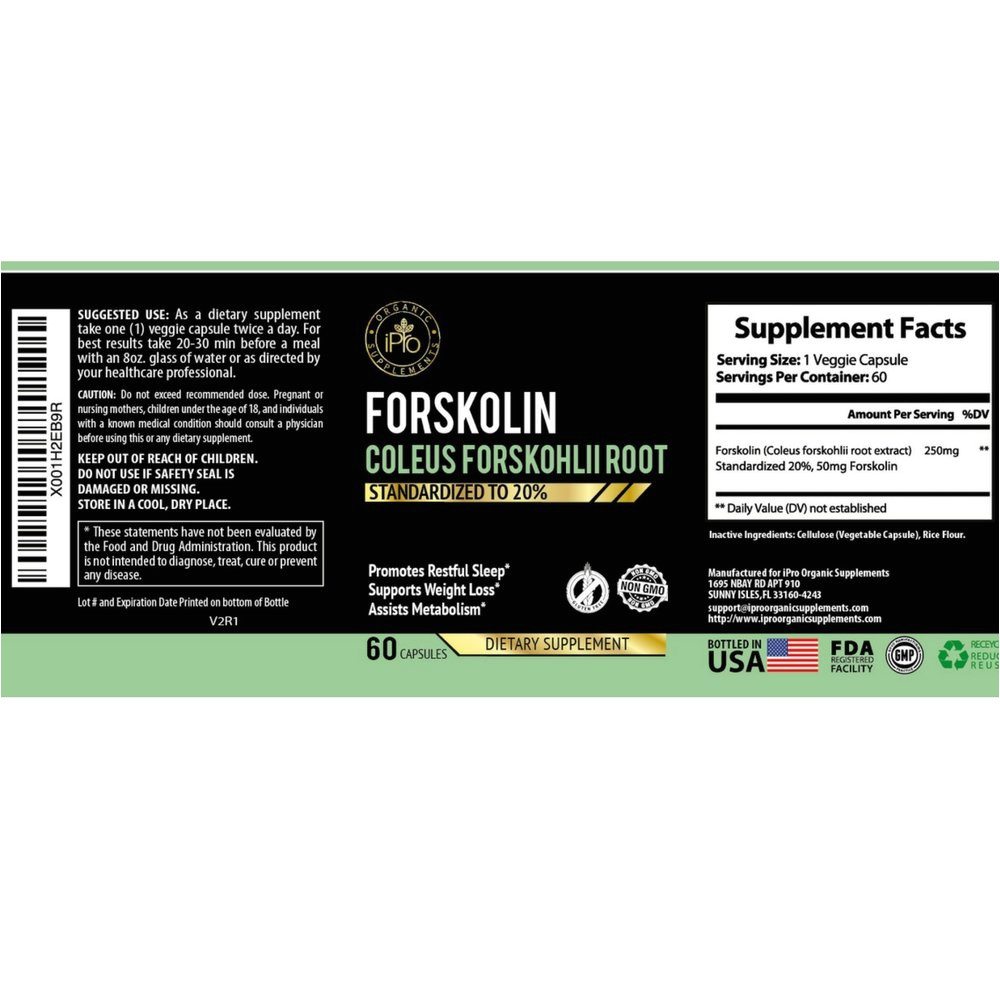 amazon com ipro organic supplement forskolin coleus forskonlil root extract 60 capsules 250mg standarized to 20 for rapid slim tone weight loss