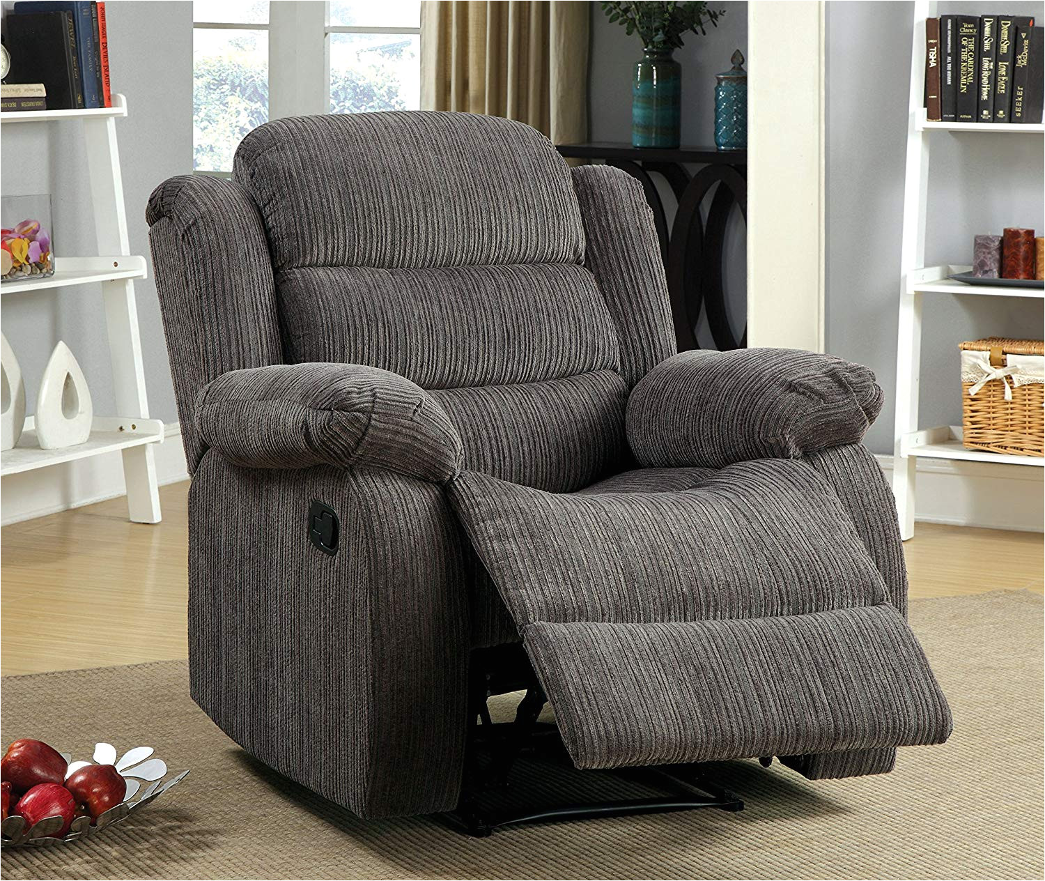 amazon com furniture of america blake chenille recliner chair gray kitchen dining
