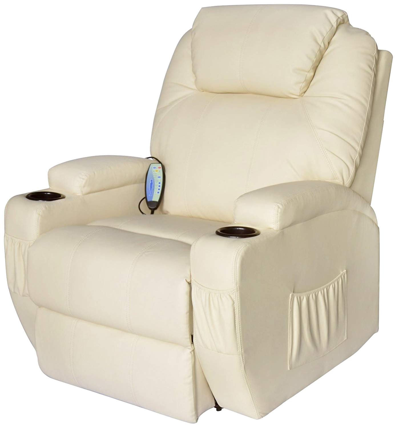 amazon com homcom faux leather heated vibrating recliner chair with remote cream white kitchen dining