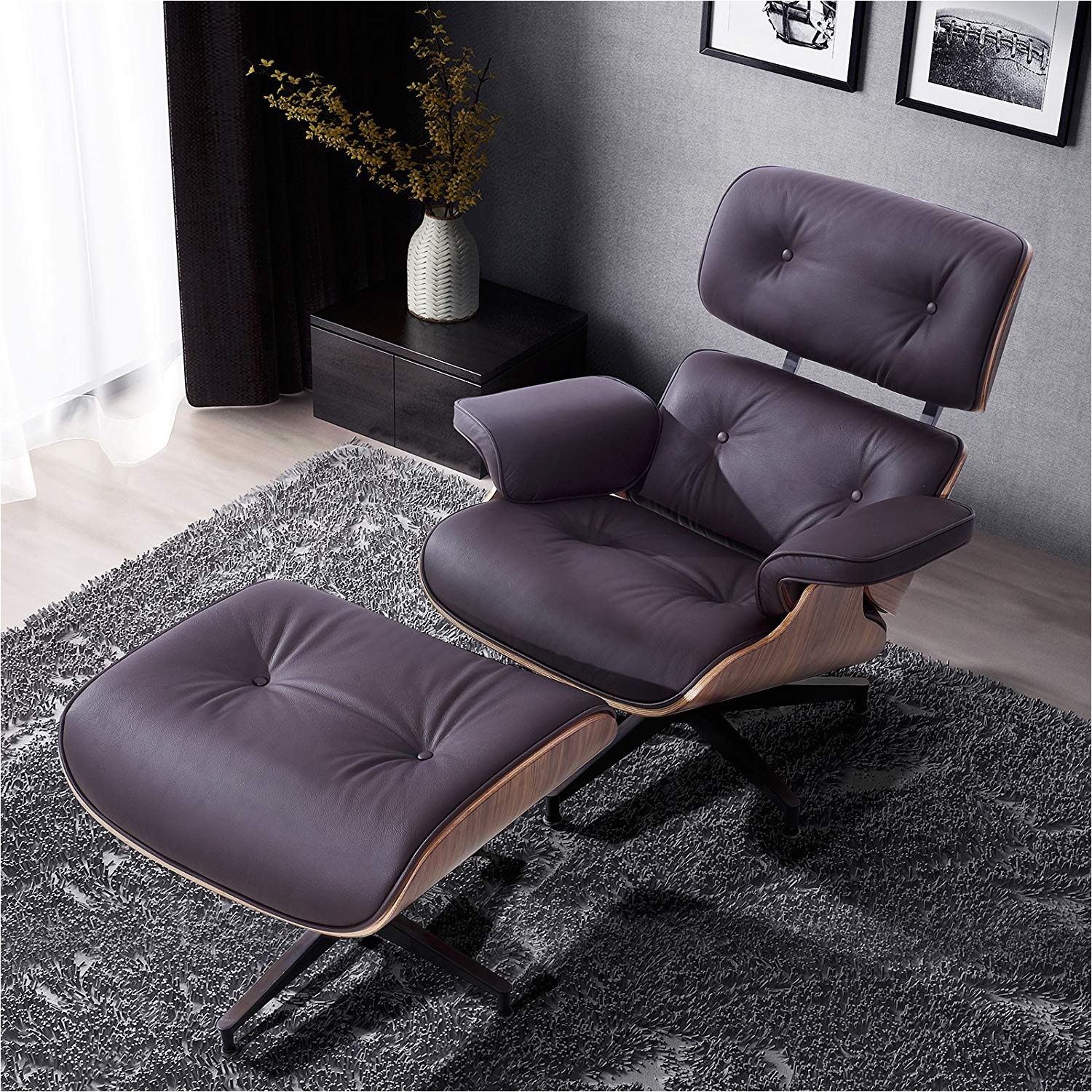 amazon com recliner genius 100 grain italian leather recliner lounge chair with ottoman brown kitchen dining