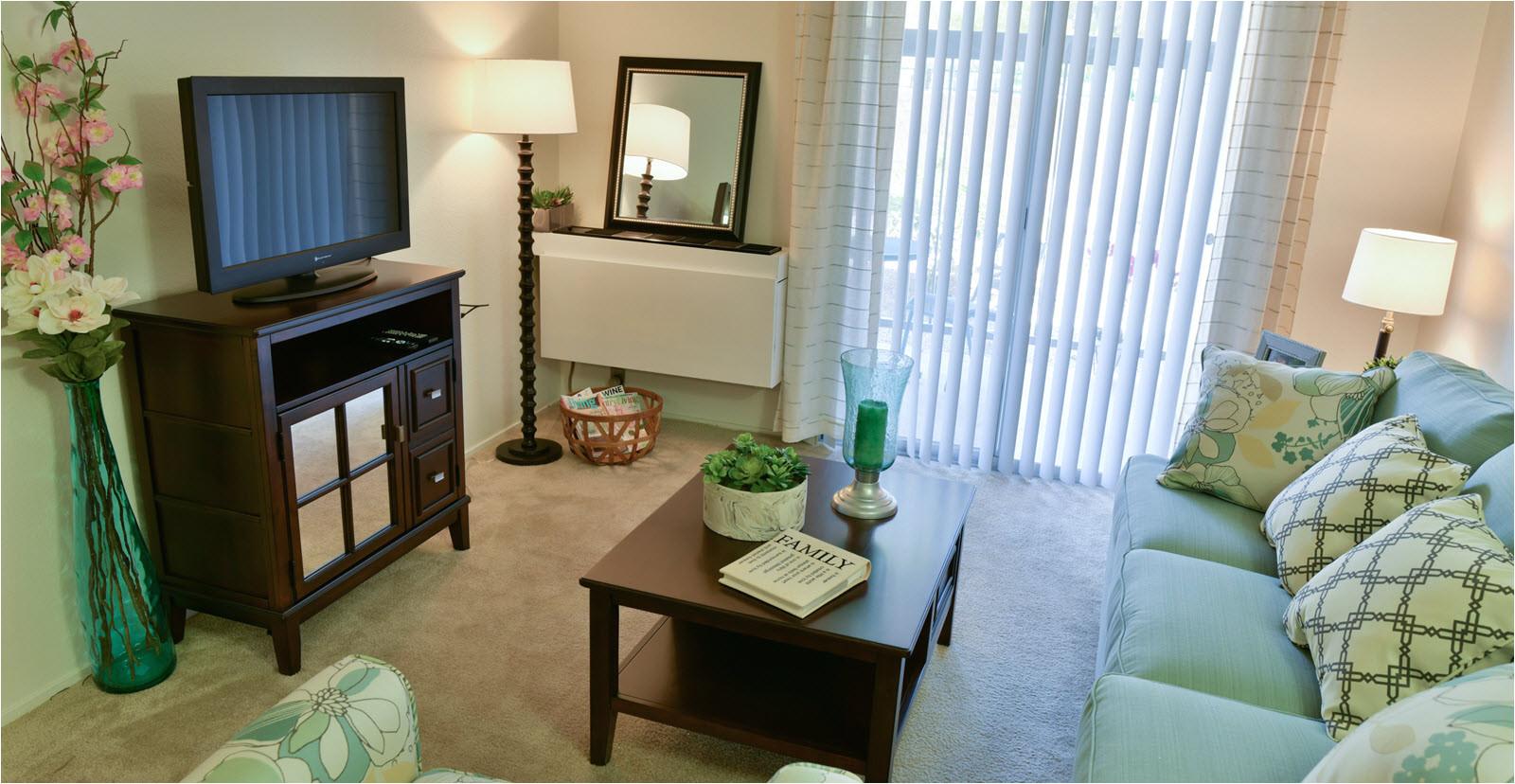 living room in model apartment at montara meadows retirement community