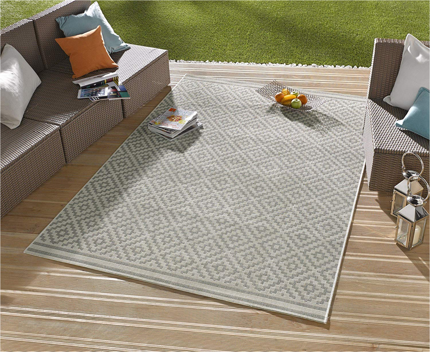 amazon de in outdoor design teppich terrasse wintergarten 160 x 230 cm raute grau creme od 4