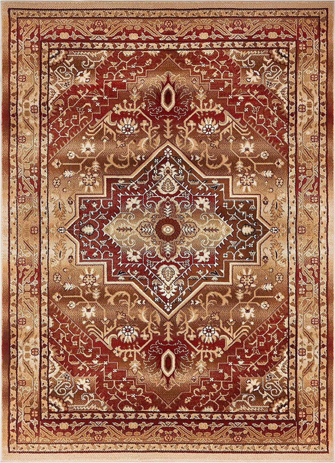 amazon com well woven tribal elegance red modern persian medallion 8x11 7 10 x 9 10 area rug vintage faded oriental erased carpet kitchen dining
