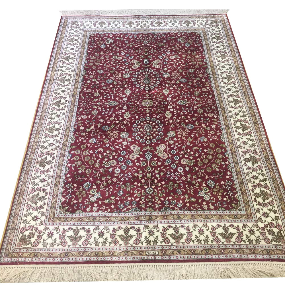 amazon com yilong 4 x 6 red persian carpet hand knotted oriental traditional isfahan floral design silk rug kitchen dining