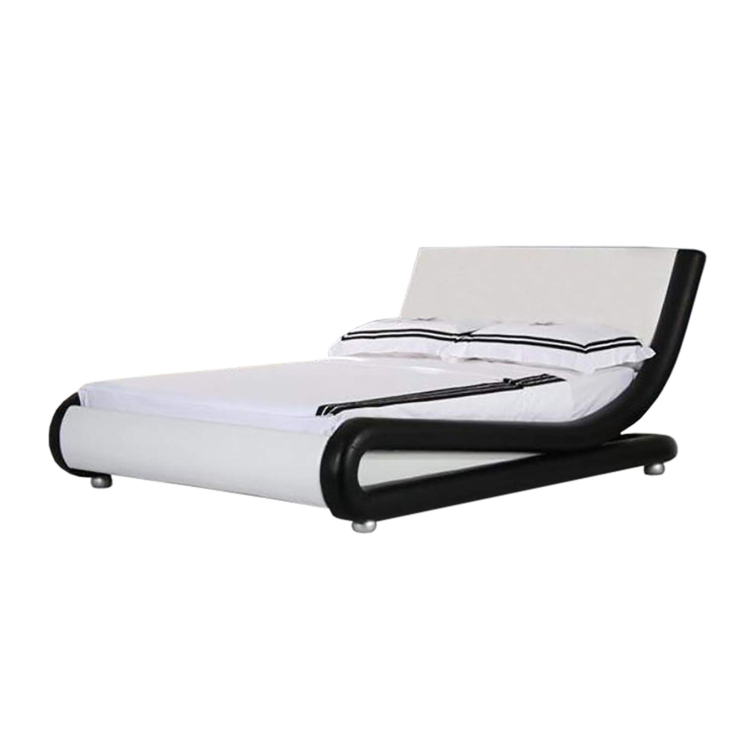 4ft6 italian designer faux leather double mallorca bed frame in black and white amazon co uk kitchen home