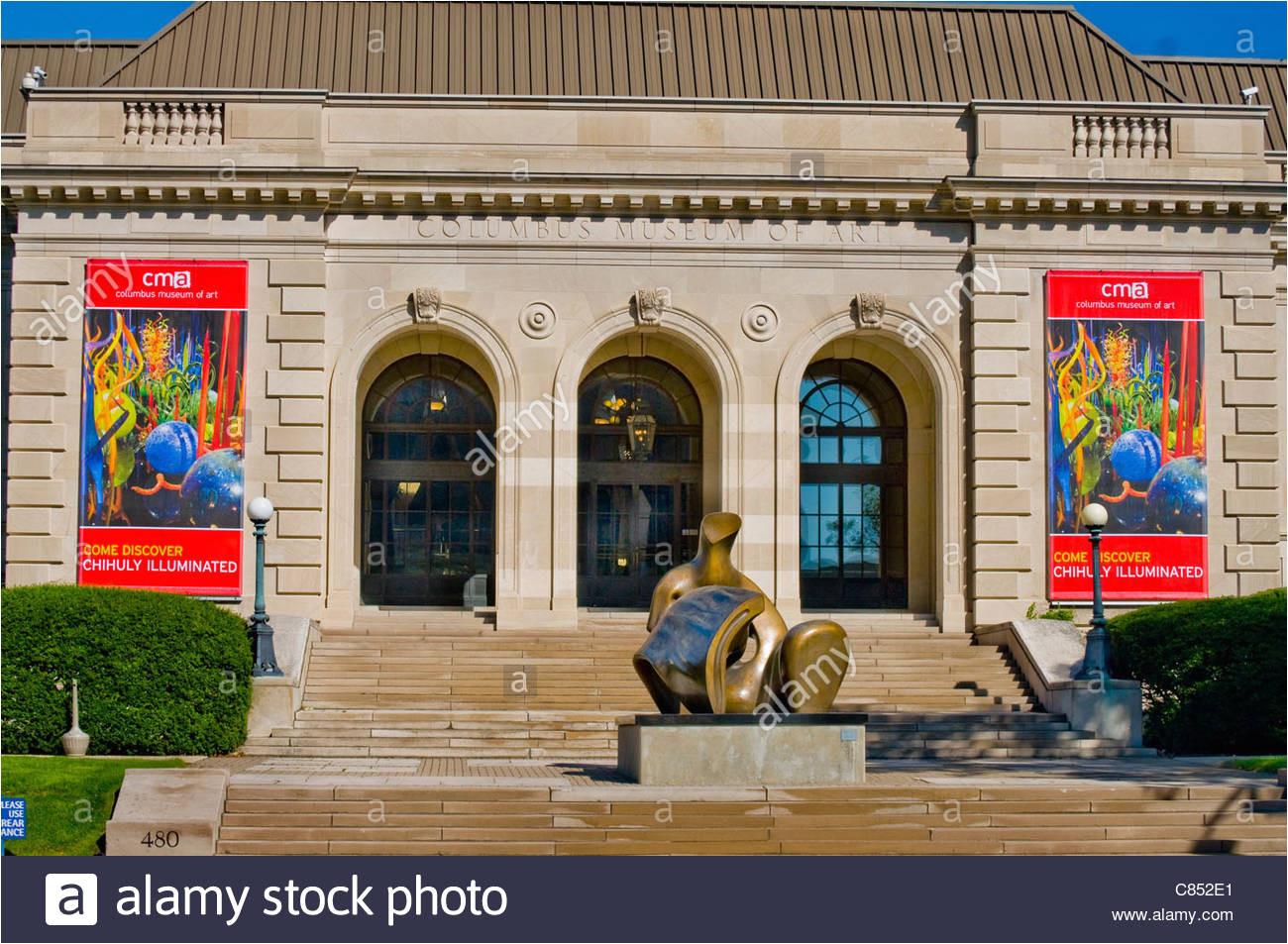 columbus museum of art in columbus ohio mit der liegenden figur skulptur von henry moore