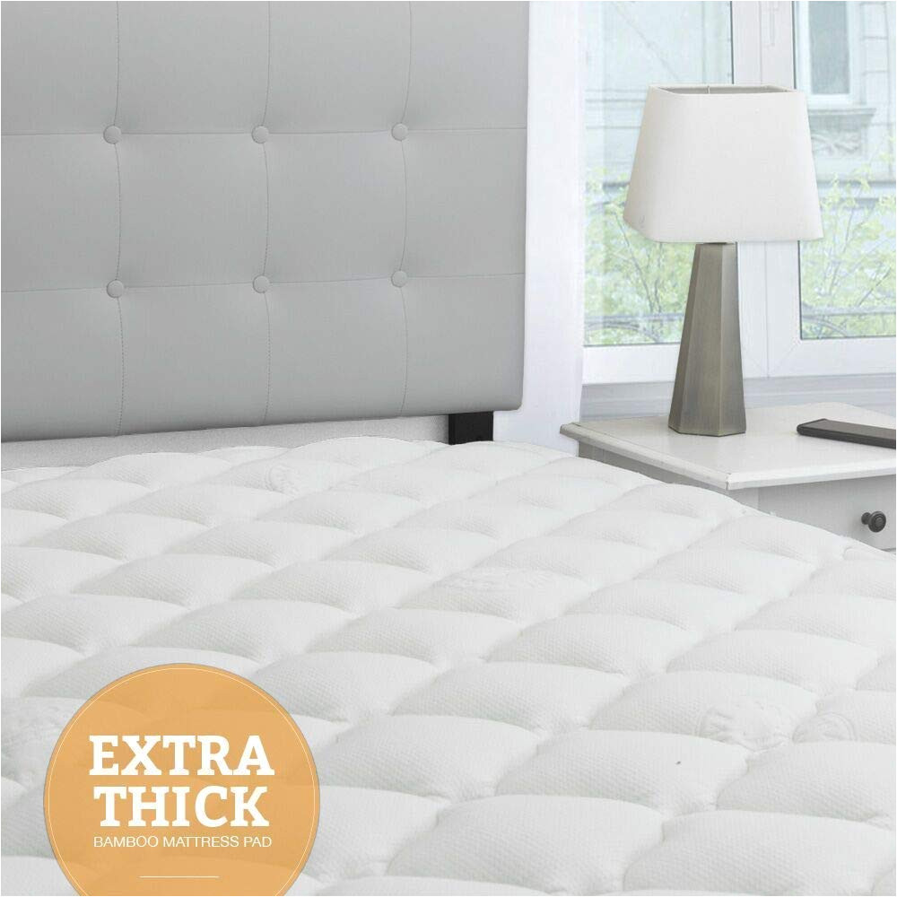 amazon com eluxurysupply rayon from bamboo extra thick mattress pad with fitted skirt extra plush cooling topper hypoallergenic proudly made in the