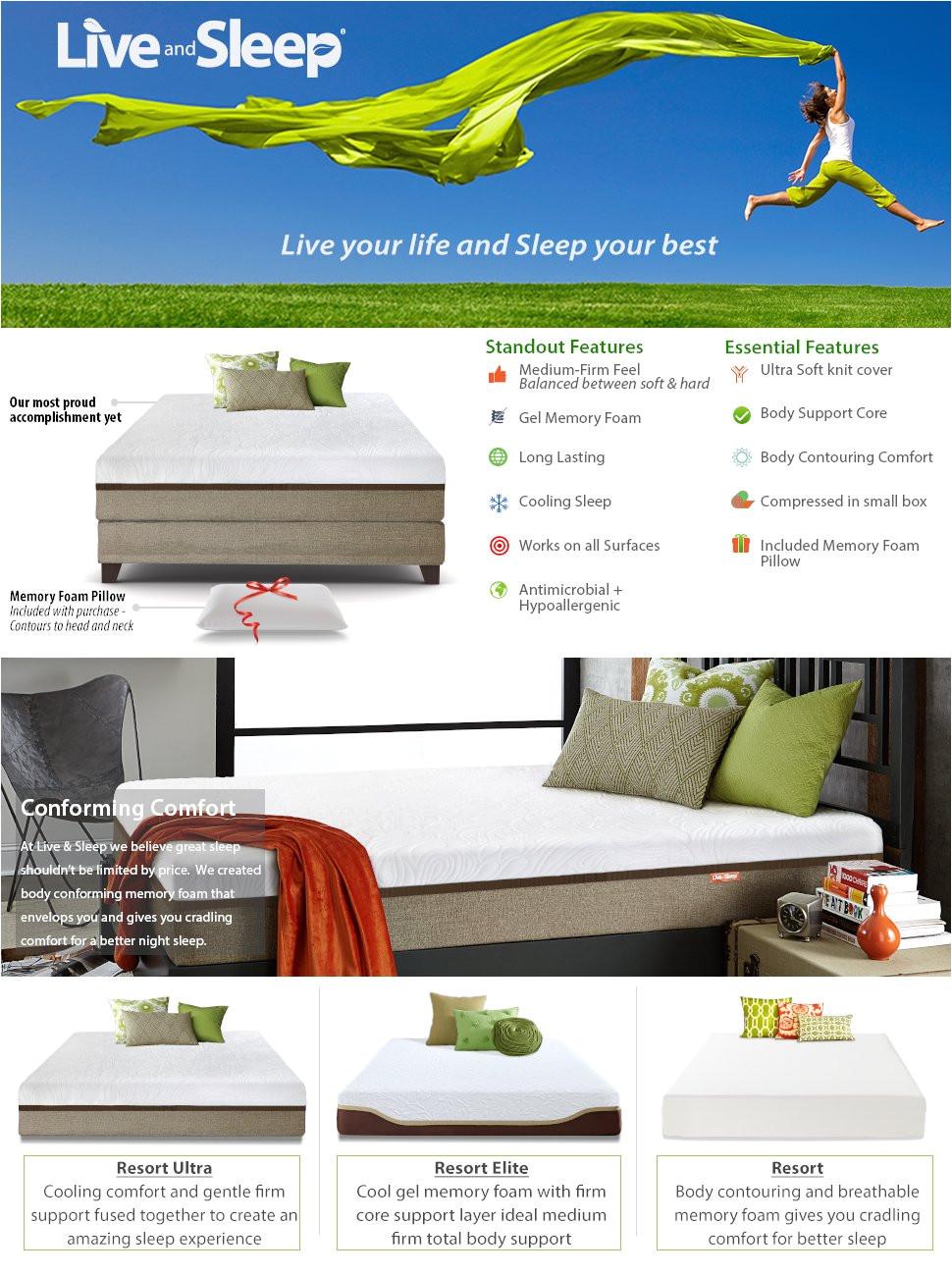 live and sleep resort ultra 12 inch gel infused memory foam mattress