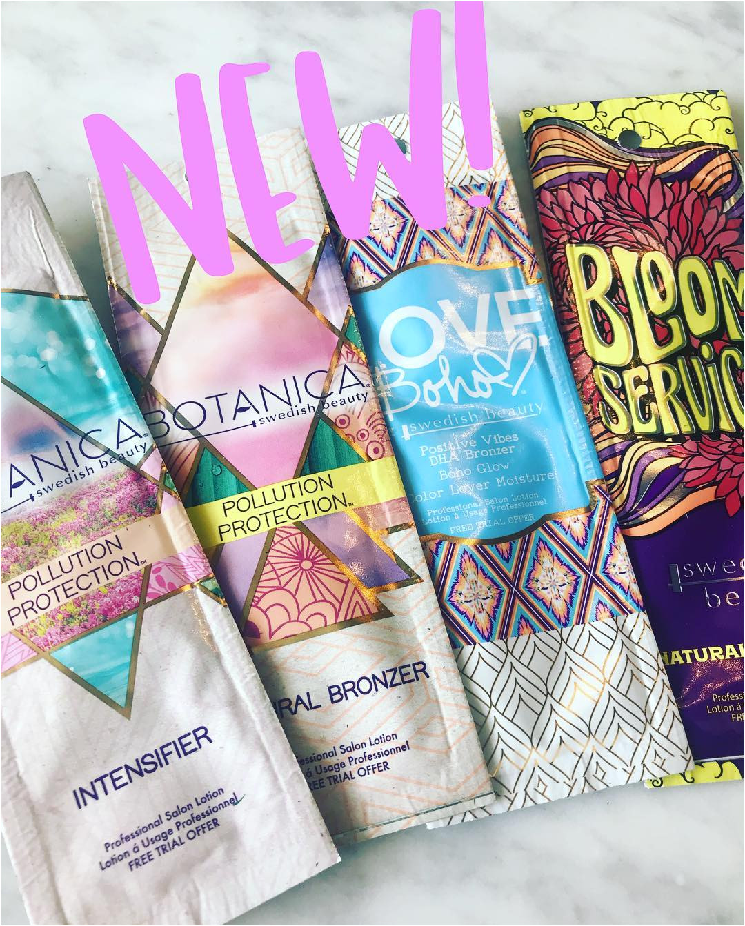 new brand new lotions well of course it s just a sneak pick i mean i didn t get all the new lotion samples it s just 4 of all the new lotions they are