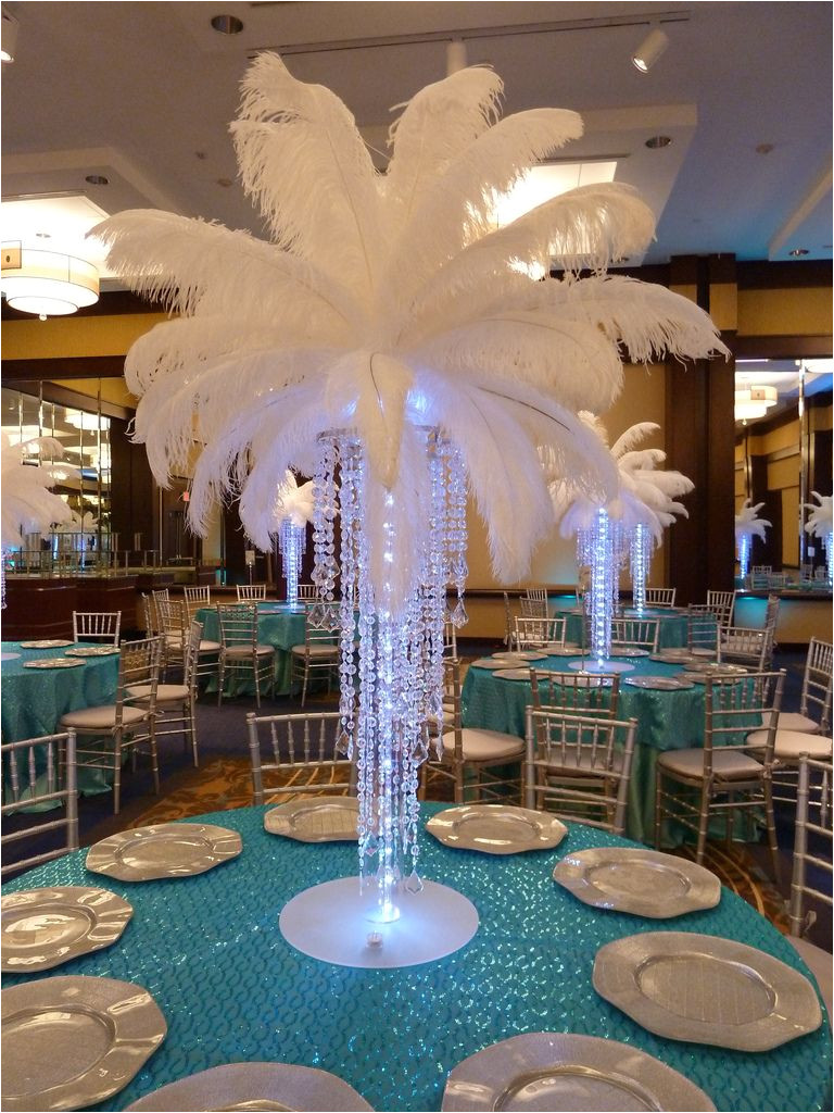 big and beautiful wedding centerpiece with feathers
