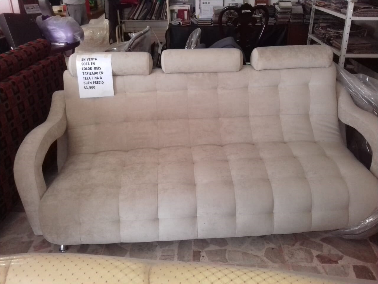 tapicerias obregon sofa 3 plazas color beige tapizado en tela fina a excelente precio