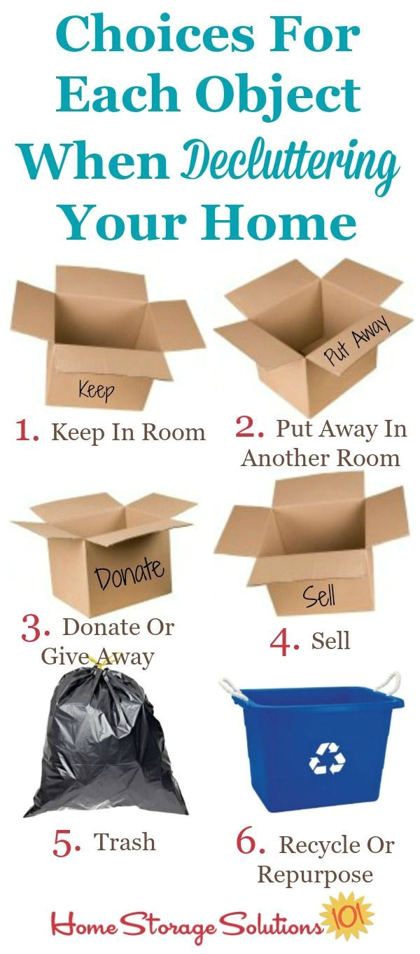 6 choices for each object when decluttering part of the how to declutter your home