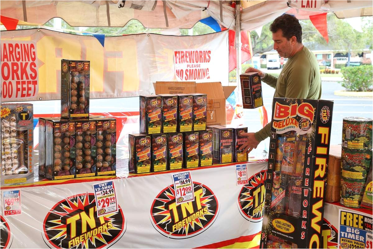 david piper salesman for tnt fireworks sets up his stand at tyrone gardens mall