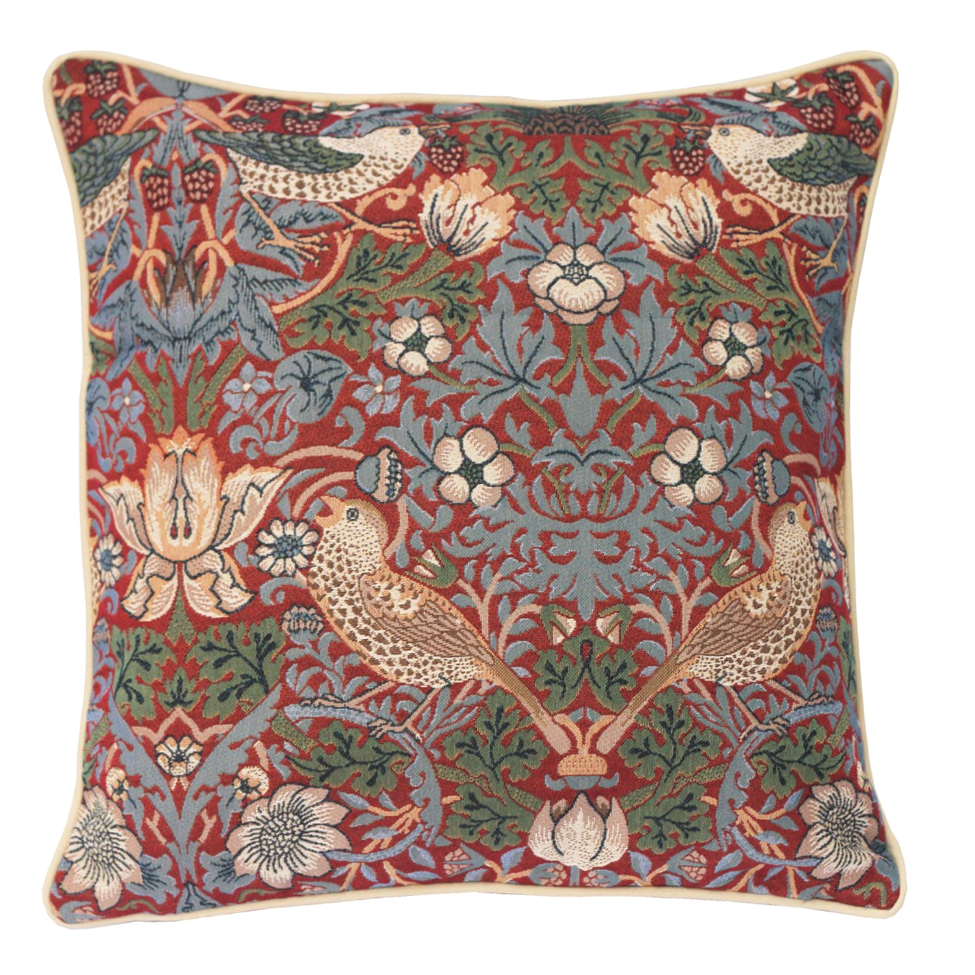 signare tapestry double sided square cushion cover william morris strawberry thief blue ccov stbl amazon co uk kitchen home