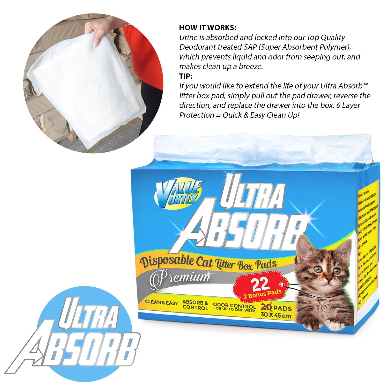amazon com ultra absorb premium generic cat pad refills for breeze litter box system 22 pad bonus pack pet supplies