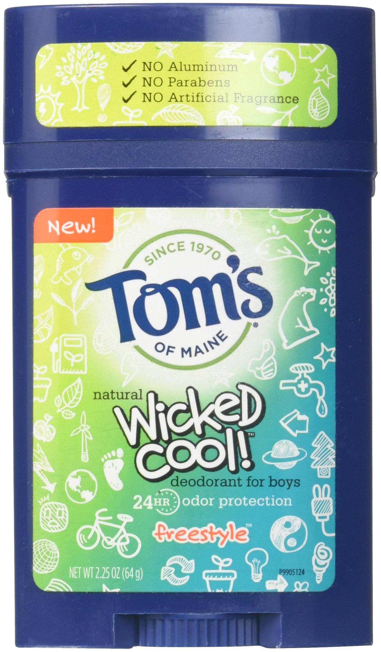 amazon com tom s of maine wicked cool deodorant for boys freestyle 2 25 oz pack of 3 home kitchen