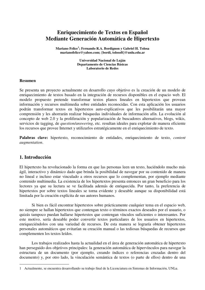 pdf enriquecimiento de textos en espaa ol mediante generacia n automatica de hipertexto