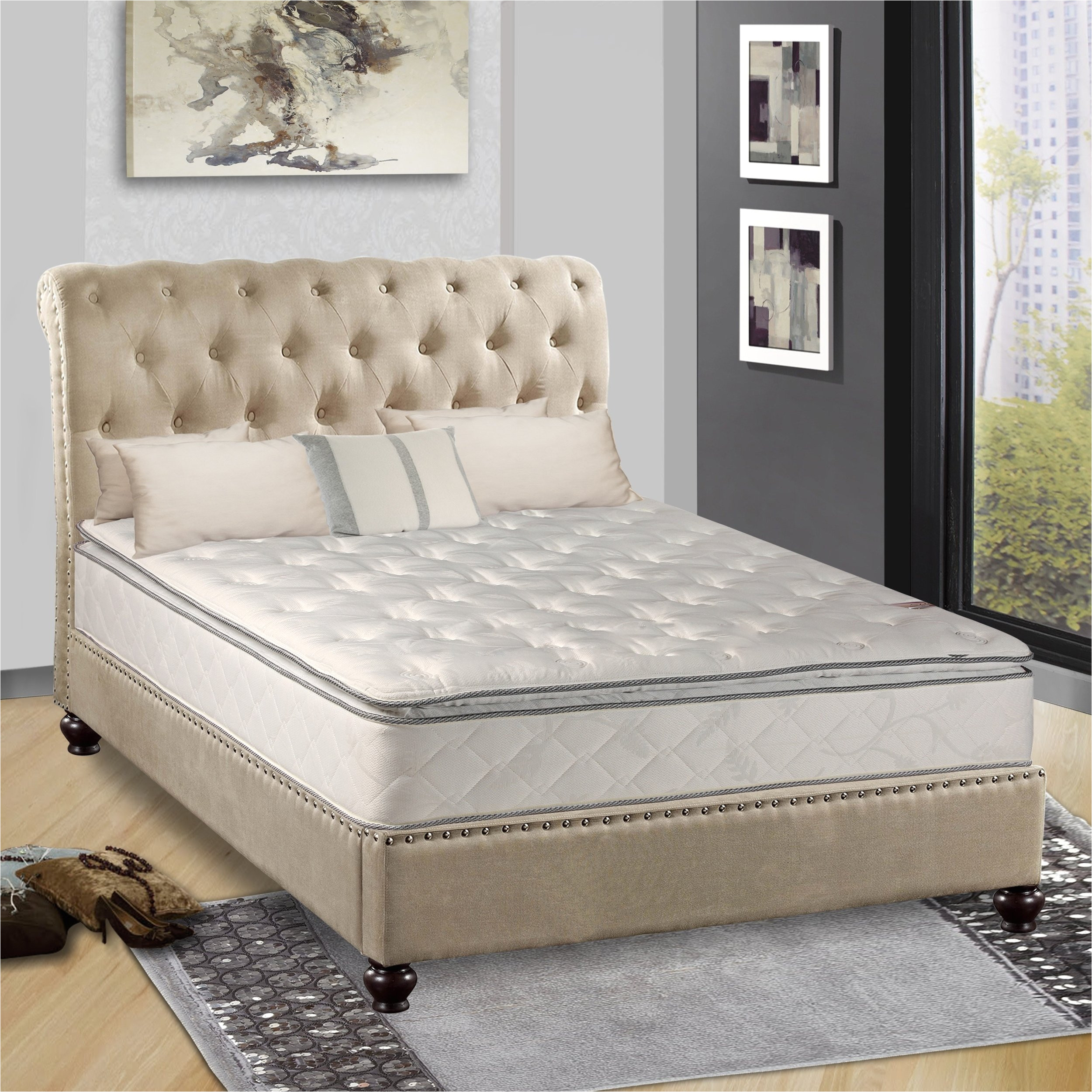 continental sleep medium plush pillowtop mattress twin size free shipping today overstock com 26112030