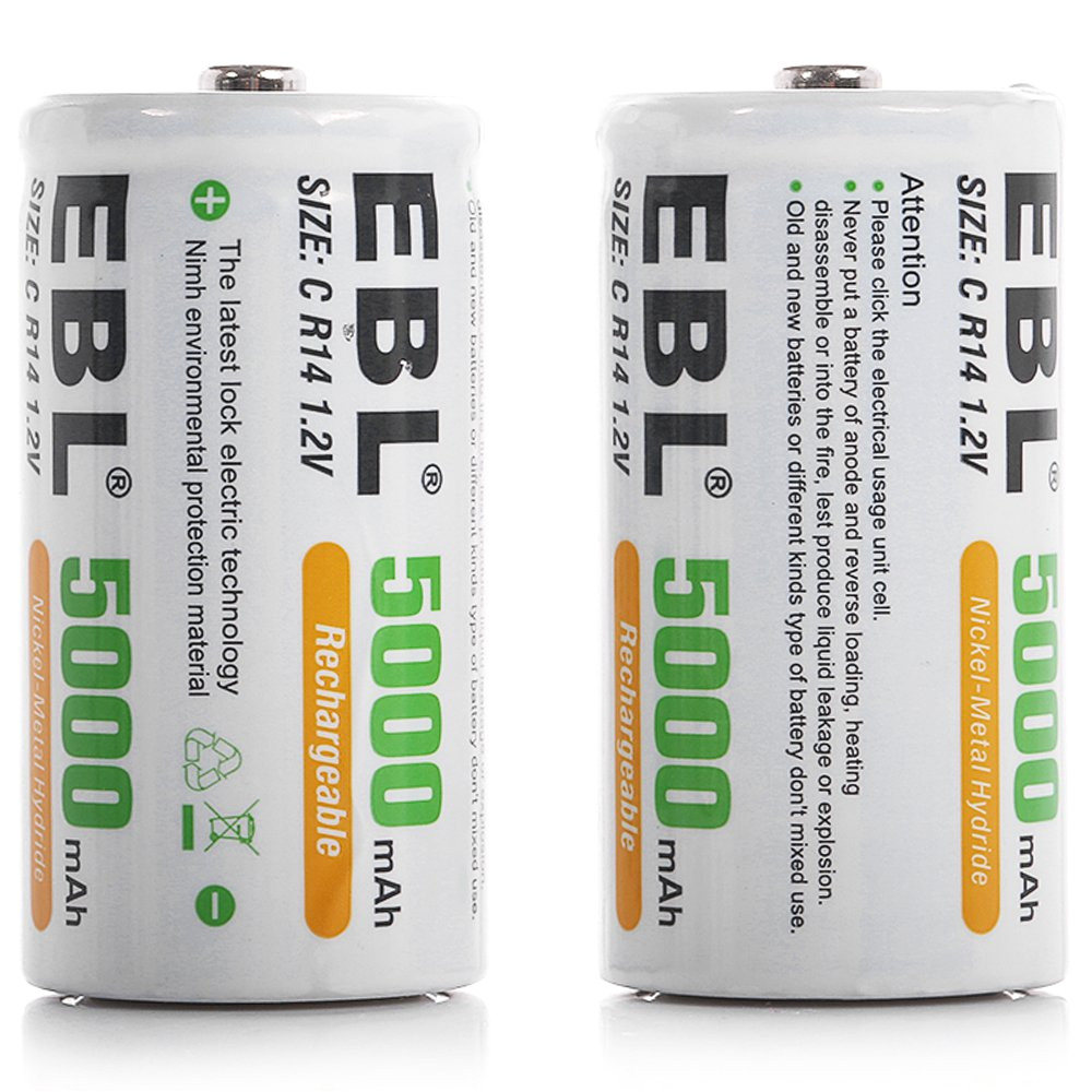 ebl c size c cell 5000mah ni mh rechargeable batteries pack of 2 product