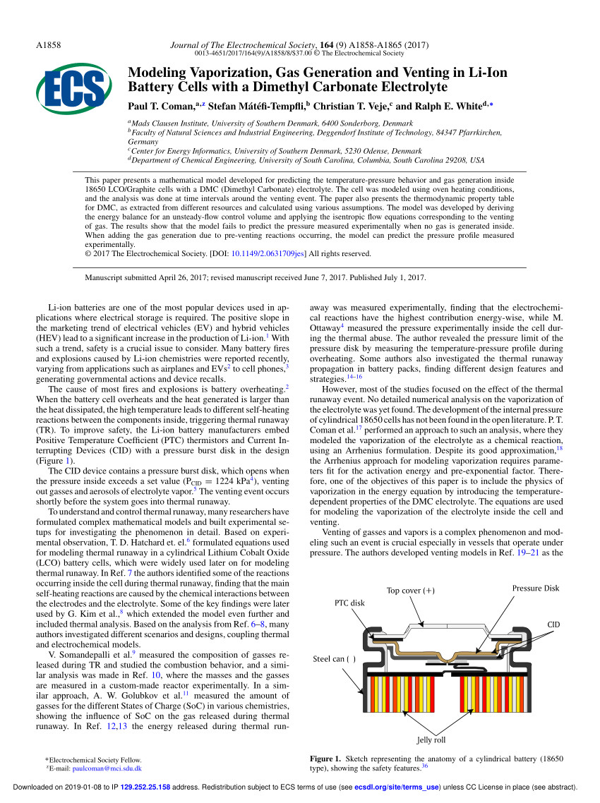 pdf modeling vaporization gas generation and venting in li ion battery cells with a dimethyl carbonate electrolyte