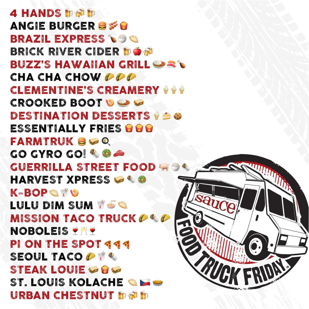 friday announcing the lineup for the last foodtruckfridaystl of 2018 invite your friends and we ll see you at 3 p m towergrovepark pic twitter com